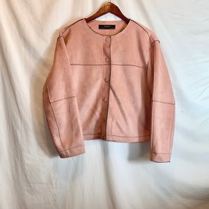 Zara Pink Faux Suede Button Up Cropped Jacket